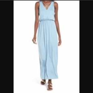 Lush Maxi Dress, faded denim cross front